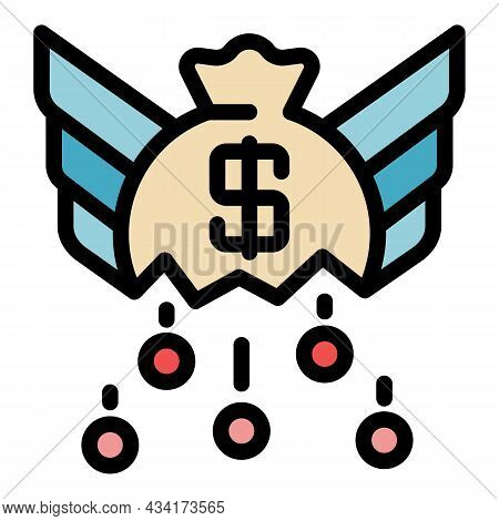 Crisis Money Bag Icon. Outline Crisis Money Bag Vector Icon Color Flat Isolated