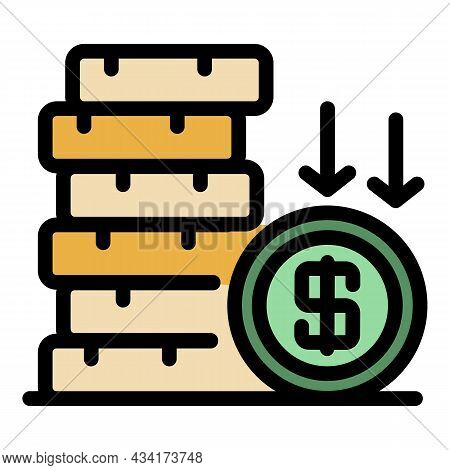 Crisis Coin Stack Icon. Outline Crisis Coin Stack Vector Icon Color Flat Isolated