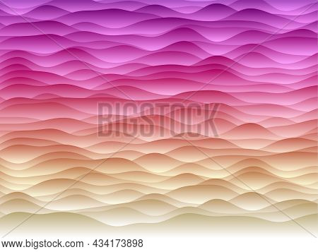 Abstract Curves Background. Smooth Curves With Gradients In Sunset Colors. Appealing Vector Illustra