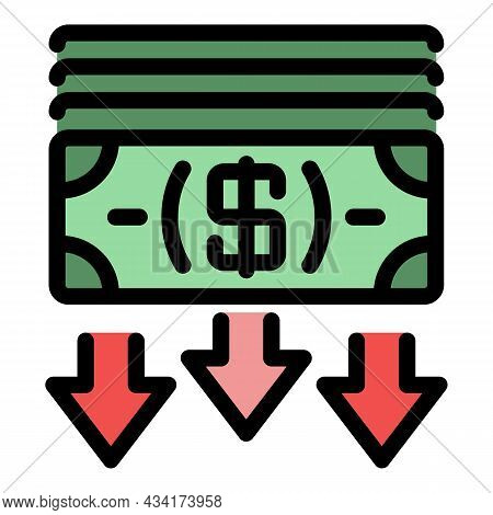 Crisis Cash Money Icon. Outline Crisis Cash Money Vector Icon Color Flat Isolated