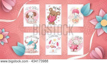 Set Cute Animal- Idea For Greeting Card. Hand Draw