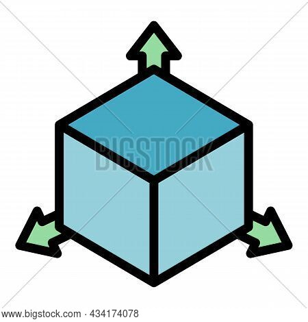 Restructuring 3d Direction Icon. Outline Restructuring 3d Direction Vector Icon Color Flat Isolated