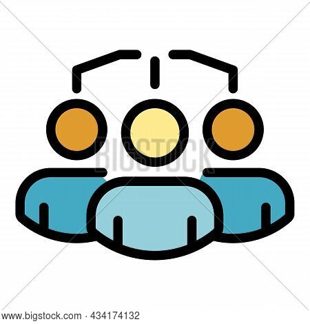 Restructuring People Group Icon. Outline Restructuring People Group Vector Icon Color Flat Isolated
