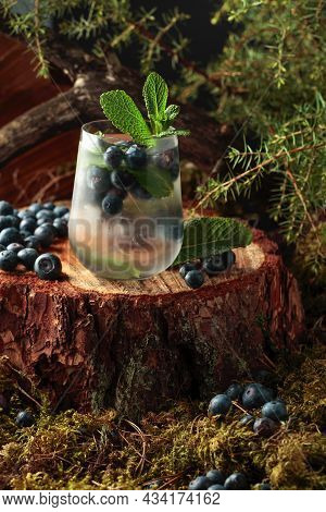 Cocktail With Ice, Blueberries, And Mint On A Pine Stump In The Forest. Summer Fresh Fruit Drink.
