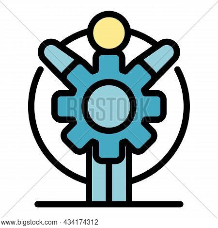 New Gear Wheel Icon. Outline New Gear Wheel Vector Icon Color Flat Isolated