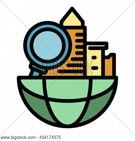 Global Search Restructuring Icon. Outline Global Search Restructuring Vector Icon Color Flat Isolate