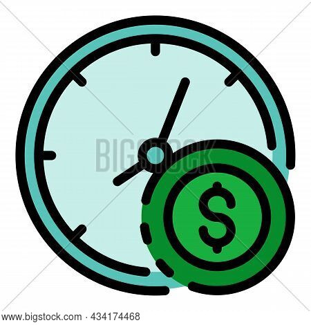 Time Clock Broker Icon. Outline Time Clock Broker Vector Icon Color Flat Isolated
