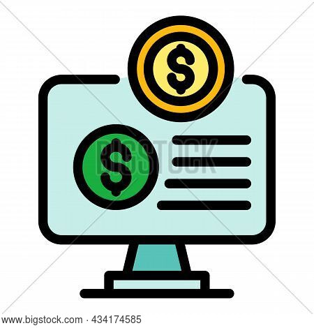 Broker Online Monitor Icon. Outline Broker Online Monitor Vector Icon Color Flat Isolated