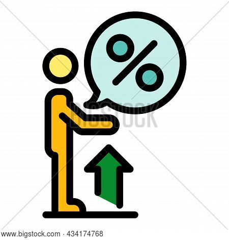 Broker Percent Money Icon. Outline Broker Percent Money Vector Icon Color Flat Isolated