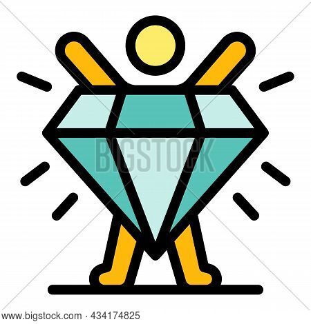 Diamond Broker Stage Icon. Outline Diamond Broker Stage Vector Icon Color Flat Isolated