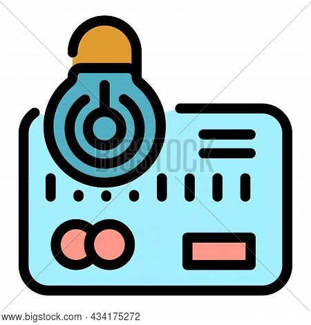 Unlock Credit Card Icon. Outline Unlock Credit Card Vector Icon Color Flat Isolated