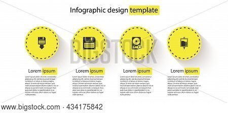 Set Floppy Disk Backup, , Hard Drive Hdd Sync Refresh And Iv Bag. Business Infographic Template. Vec