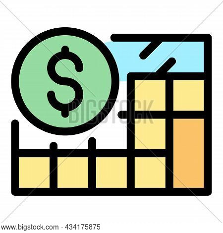 Budget Calculator Icon. Outline Budget Calculator Vector Icon Color Flat Isolated