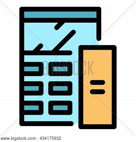 Scientific Calculator Icon. Outline Scientific Calculator Vector Icon Color Flat Isolated