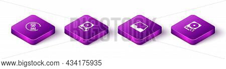 Set Isometric Waiting, Hard Disk Drive Hdd Protection, Social Media Inbox And Sync Refresh Icon. Vec