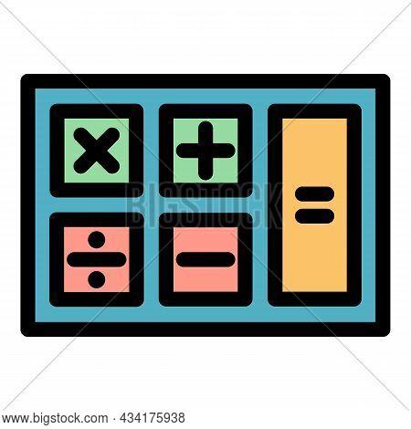 Math Calculator Icon. Outline Math Calculator Vector Icon Color Flat Isolated