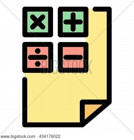 Calculation Paper Icon. Outline Calculation Paper Vector Icon Color Flat Isolated