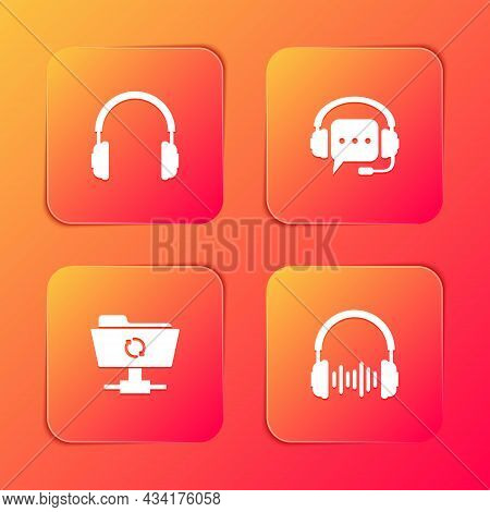 Set Headphones, With Speech Bubble, Ftp Sync Refresh And And Sound Waves Icon. Vector