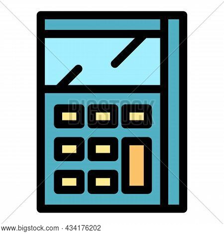 Calculator Math Device Icon. Outline Calculator Math Device Vector Icon Color Flat Isolated