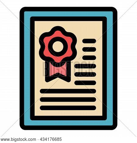 Broker Diploma Icon. Outline Broker Diploma Vector Icon Color Flat Isolated