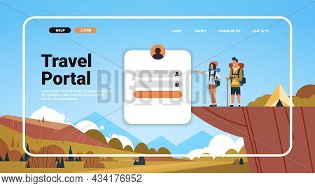 Man Woman Couple Hiking In Mountains Website Landing Page Template Travel Portal Trip Adventure Conc