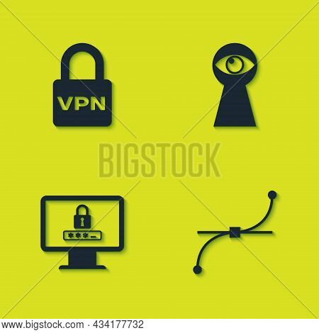 Set Lock Vpn, Bezier Curve, Monitor With Password And Keyhole Eye Icon. Vector