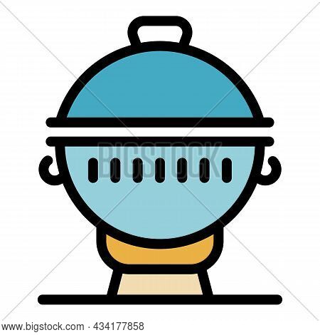 Round Brazier Icon. Outline Round Brazier Vector Icon Color Flat Isolated