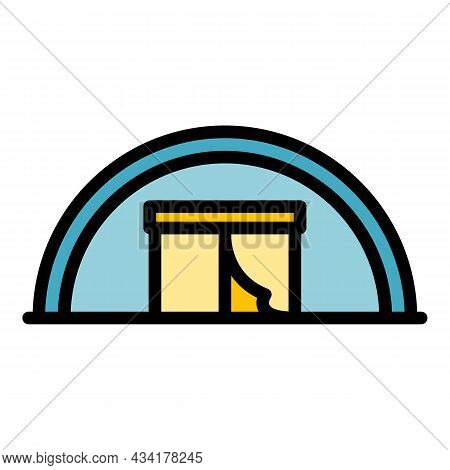 Big Immigrants Tent Icon. Outline Big Immigrants Tent Vector Icon Color Flat Isolated