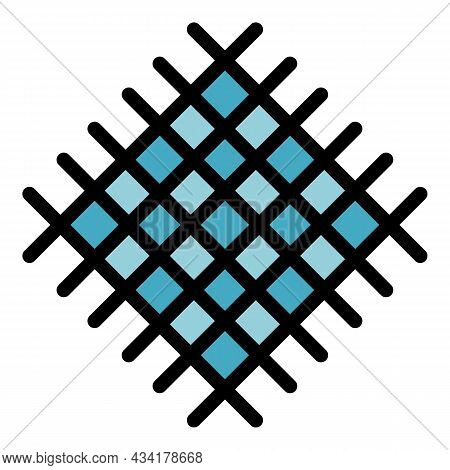 Metal Net Icon. Outline Metal Net Vector Icon Color Flat Isolated