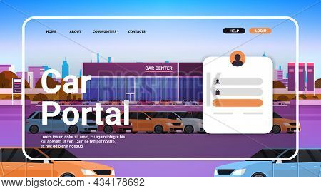 Online Car Portal Website Landing Page Template New Automobiles Showroom Cityscape Background