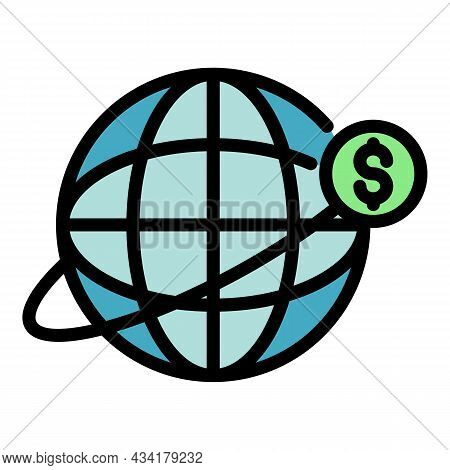 Global Business Credit Icon. Outline Global Business Credit Vector Icon Color Flat Isolated