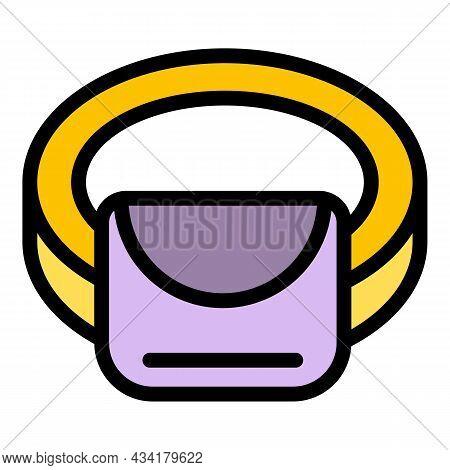 Handbag Waist Bag Icon. Outline Handbag Waist Bag Vector Icon Color Flat Isolated