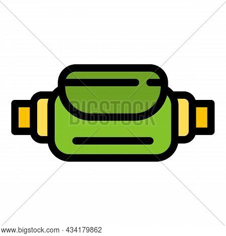 Travel Waist Bag Icon. Outline Travel Waist Bag Vector Icon Color Flat Isolated