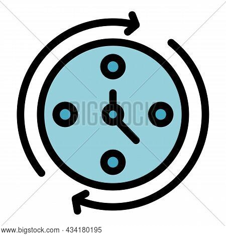 Time For Gym Icon. Outline Time For Gym Vector Icon Thin Line Color Flat On White