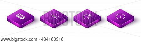 Set Isometric Clock Pm, 24 Hours, Stopwatch And Icon. Vector