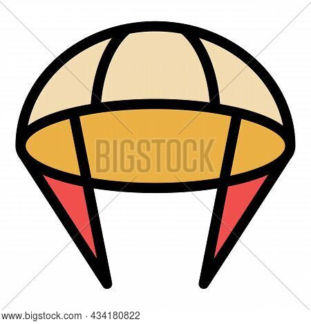 Fly Parachute Icon. Outline Fly Parachute Vector Icon Color Flat Isolated
