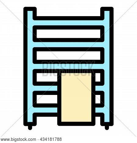 Towel Rail Radiator Icon. Outline Towel Rail Radiator Vector Icon Color Flat Isolated