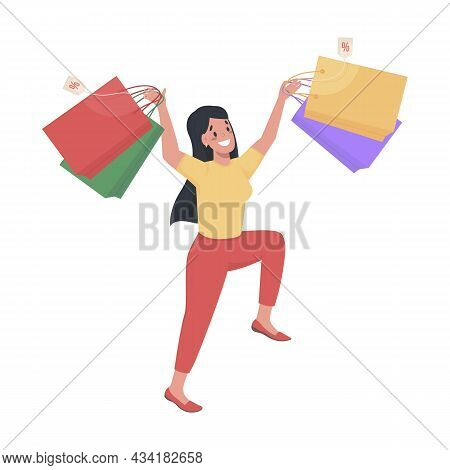 Happy Female Shopper Semi Flat Color Vector Character. Jumping In Excitement Figure. Full Body Perso