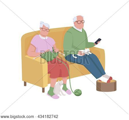Grandparents Semi Flat Color Vector Characters. Sitting Figures. Full Body People On White. Leisure