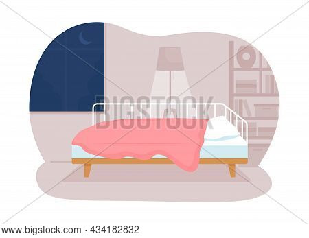Teen Bedroom 2d Vector Isolated Illustration. Comfortable Home And Bedding For Children. Nighttime R
