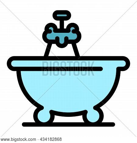 Bath Time Icon. Outline Bath Time Vector Icon Color Flat Isolated