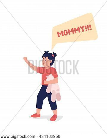 Toddler Shout Mommy Semi Flat Color Vector Character. Standing Figure. Full Body Person On White. Fa