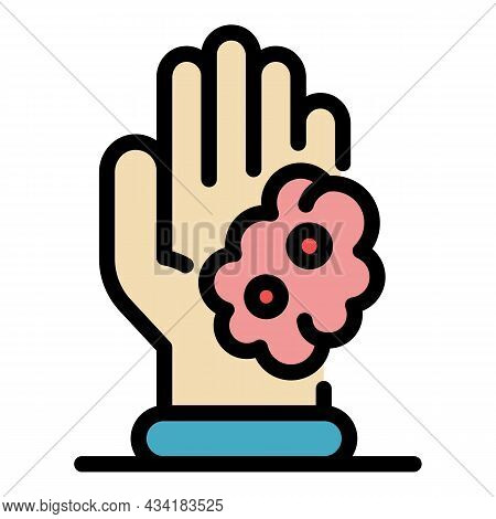 Foam On Palm Icon. Outline Foam On Palm Vector Icon Color Flat Isolated