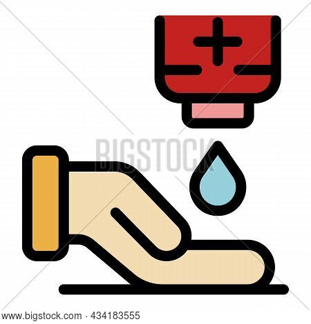 Hands Disinfection Icon. Outline Hands Disinfection Vector Icon Color Flat Isolated