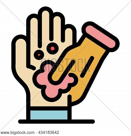 Hands Sanitizer Icon. Outline Hands Sanitizer Vector Icon Color Flat Isolated