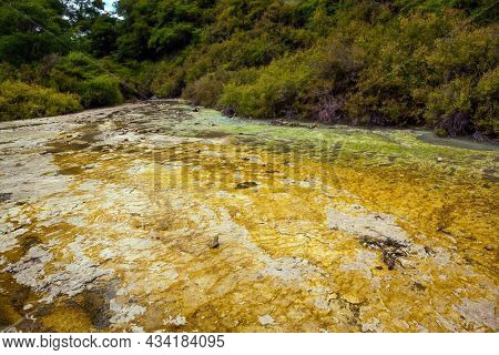 The North Island, New Zealand. The Waimangu Volcanic Rift Valley. The geothermal zone of Rotorua. Inferno Crater Lake is a large hot spring. The concept of exotic, ecological and photo tourism