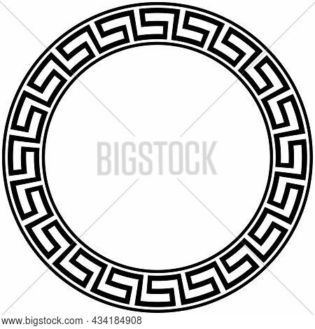 Meander Ring With Maze Look On Isolated White Background. Labyrinth Pattern For Letter Border, Certi