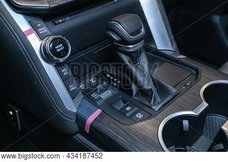 Novosibirsk, Russia - September    24 , 2021: Toyota Land Cruiser 300, Automotive; Background; Black