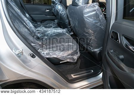 Novosibirsk, Russia - September    24 , 2021: Toyota Land Cruiser 300, Rear Seat For Passengers In B