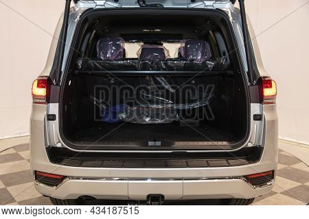 Novosibirsk, Russia - September    24 , 2021: Toyota Land Cruiser 300, Close-up Of The Open Trunk, H